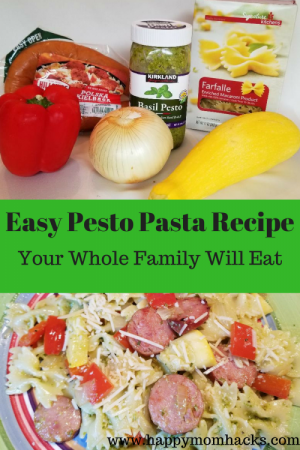 An Easy Pesto Pasta Recipe Your Whole Family Will Eat. With Sausuage, Bell Peppers, Pesto, onions and squash.