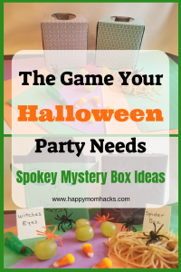 Need a fun Halloween party idea for kids? Try these spooky DIY Mystery boxes for a cool game at your next school party or house party. Kids will love guessing what's inside the box! #halloween, #schoolparties, #kidshalloween
