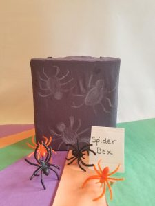 Simple Mystery box labels to let kids know what their feeling in this fun Halloween Game Idea.