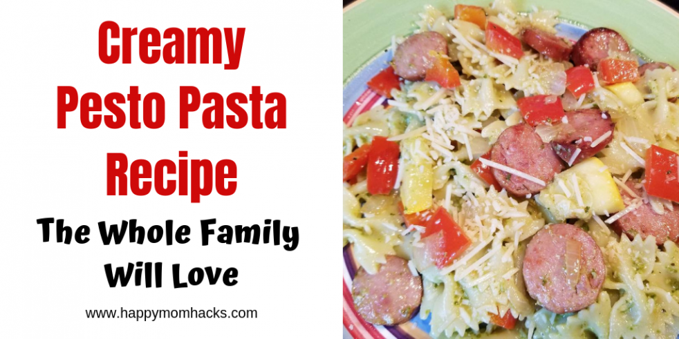 Delicious Creamy Pesto Pasta Recipe with sausage & zucchini. Quick & Easy family weeknight meal. Use the recipe as a base & adjust it to your families taste. #pesto #pasta #weeknightmeal #quickdinner #easymeals