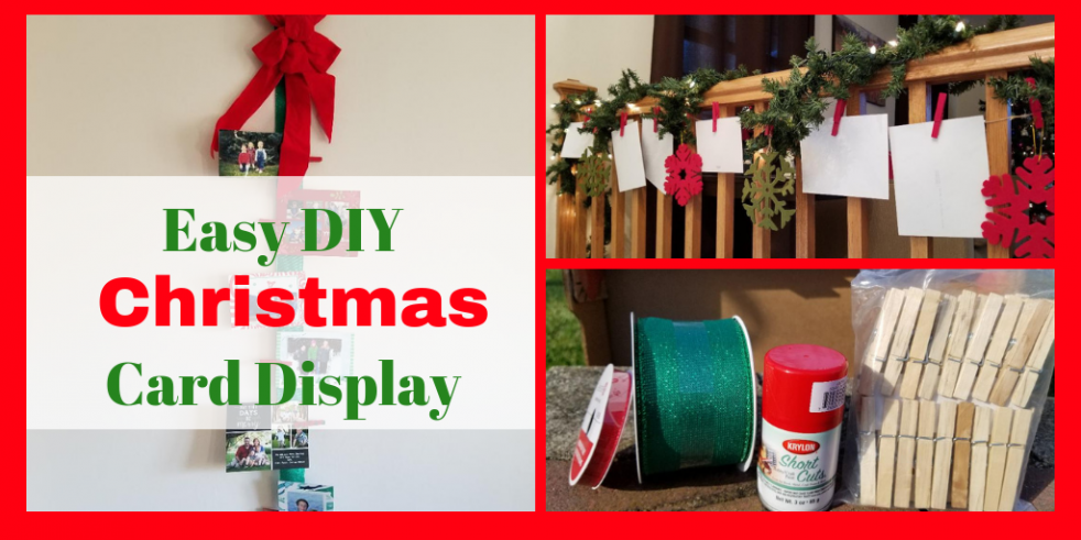 Easy DIY Christmas Card Displays. Use your holiday cards to decorate your home for Christmas. #christmas #homedecor #holidaydecoratins #christmascards #christmasdecorations