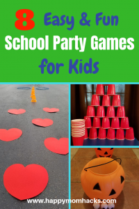 Looking for fun Elementary school party games and ideas for an upcoming classroom party? Let me show you 8 quick and easy party activities including a fun minute to win it game for kids. Use these games at your next Halloween party, end of the year party, Valentines day, winter party and more. You will be the coolest room Mom or Dad!! #schoolparties, #classroomgames,