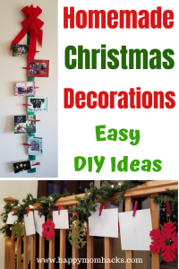Homemade Christmas Card Decorations Ideas for Home. These easy DIY holiday displays use your Christmas cards and ribbon. Learn How to Make these low cost but beautiful displays. #christmas #holidaydisplays #homemadechristmasdecorations #holidaydecor