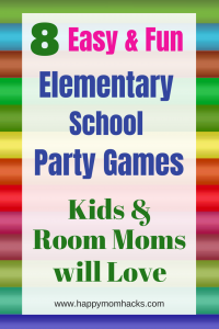 8 Fun Elementary School Party Ideas. Great classroom games for kids on Halloween, Valentine's day, Christmas, End of the Year and Winter school parties. No more stress use these easy party games to make it the best school party! #schoolparties, #partyideas, #partygames, #halloweenparty
