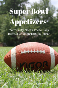 Easy Super Bowl Appetizers for Parties. Buffalo Chicken Tortilla Pizza Football Snacks. 5 Tortilla pizza recipies that can easily be turned into vegetarian meals. Also makes a great weeknight dinner! #appetizerideas, #superbowl, #tortillapizza