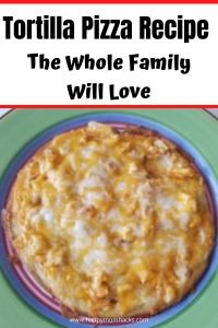 Easy Tortilla Pizza Recipes to Oven Bake for Families. Find four fun ways to make this quick weeknight meal or lunch idea. Try BBQ pizza, Buffalo Chicken Pizza, Vegetarian and more. #tortillapizza #quickfamilymeal #dinneridea #familydinner #bbqpizza