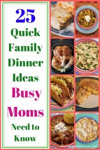 Having a hard time coming up with quick family dinner ideas for those busy nights? Don't stress check out these 25 easy recipes perfect for a quick weeknight meal. Bonus your kids will love them!