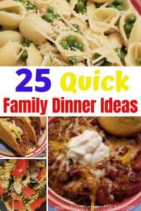 Quick Family Dinner Ideas the Kids will Eat. 25 Easy recipes for weeknight meals when you don't have time to cook. Even picky eaters will find something to love. #familydinnerideas #quickweeknightmeals ##quickdinnerideas #familymeals