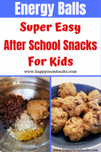 Easy After school snack for kids. Energy Balls are healthy and quick snack to make that kids and teens will love. Perfect make ahead snack to pull out after school.  #energyballs, #snack #kidssnack