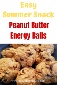 Easy Summer Snack - Peanut Butter Energy Balls . A healthy snack for kids and adults everyone will love. #snack #snacks #energyballs #healthysnack