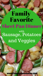 uick and Easy Sheet Pan Dinner for weeknight meals. Tasty sausage, potatoes, green beans and asparagus in a complete family meal baked on one pan. Best part - only one pan to wash when your done! #FamilyDinnerIdeas, #SheetPanMeal, #QuickFamilyMeal