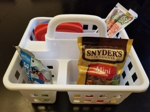 Dollar Tree Lunch Caddy for Road Trips with Kids.