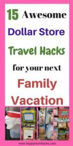 15 Dollar Store tips and tricks to use with your kids on your next family vacation. I tell you what to buy at the Dollar Store to have the best family Vacation Ever! Great for road trip travel or plane travel.