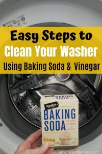 How to Clean a Front Loading Washing Machine with Vinegar and Baking Soda.  5 Simple Steps to get the smell out of your machine and clean again. It's easier than you think. #cleanwashingmachine #frontloadingwasher #vinegar #bakingsoda #cleaninghacks