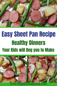 Quick & Easy Sheet Pan Recipe with Sausage and Potatoes. Find great weeknight dinners for family. Healthy and Easy Meals your family will love! #sheetpandinners, #sheetpanrecipe, #easyfamilymeals