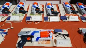 Set up Your Nerf Wars Birthday Party with a cool party favors table.