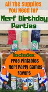 How to throw the best Nerf Birthday Party. Find all the ideas and your'll need to plan your party. It includes, fun games, favors, diy targets, and free printables.