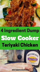 4 Ingredients Crockpot Recipe Dinner to make the most delicious and easy Teriyaki Chicken. You can make two family meals from this slow cooker meal and make your dinner time super easy. #familydinner, #crockpot, #slowcooker, #easydinner