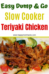 Easy Slow Cooker Teriyaki Chicken. This dump and go crokcpot meal will be a family favorite. Perfect for busy weeknight meals. #weekenighmeal #easymeals #quickdinner #crockpotmeal #teriyakichicken