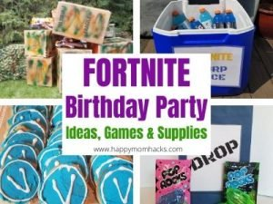 Cool Fortnite Party Ideas, Supplies and Games. How to throw a fun DIY or Virtual Fortnite Birthday Party. Plus party favors, V Bucks cookies, drop bags and everything else you need to make it a real Fortnite Party for your child. #birthday #fortnite