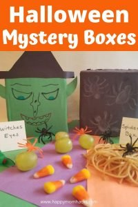 Fun Halloween Mystery Boxes Activity for Kids & Party Game. Kids will squeal with delight trying to figure out what is inside the mystery box. Is it brains or spaghetti? An easy to make kids activity that will be a hit at your Halloween party or playing with your kids at home. #halloween #mysterboxes #activityforkids #partygames #kids #halloweenparty