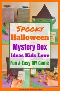 Fun Halloween Mystery Box Ideas for Kids Halloween Parties. These sensory boxes are great for school parties or Halloween parties at home. They are simple to make with tissue boxes, construction paper and spooky fillers. Don't worry I'll give you lots of ideas. Check it out and use this game at your next Halloween Party!