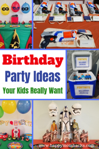 10 Favorite Boy Birthday Party Ideas. Find fun themes for Fortnite, Nerf Gun, Star Wars, Paw Patrol, Incredibles and more. Includes decorations and game ideas. #boybirthday, #birthdaypartyideas, #fortniteparty, # nerfgunparty