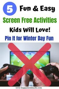 Screen Free Activities for Kids. Fun & easy indoor things to do in the winter with kids. Families games your kids will love and stay busy without a screen.