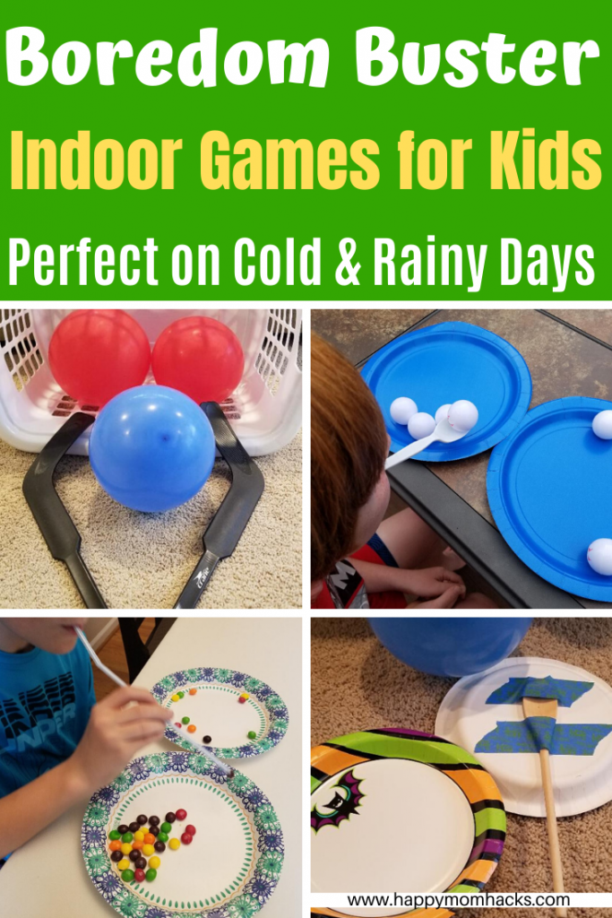 Fun & Easy Indoor Games for Kids at home on Rainy Days. Use these Boredom busting games to keep the kids active when you can't go outside. Great for Cold winter days too! #kidsgames #indoorgames #kidsactivities #partygames #rainydays