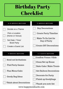 Ultimate Birthday Party Checklist for Kids Parties. Get organized and prepared with this free printable. #party #freeprintable, #checklist