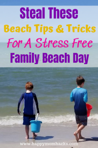 20 Ultimate Beach Tips & Tricks with kids. Best beach hacks for a fun family beach day. Easy tips on how to plan for a day at the beach, what to pack, how to hide your money, get rid of sand & more. #beachhacks #beachtips #traveltips #familyvacation #packing #travelwithkids