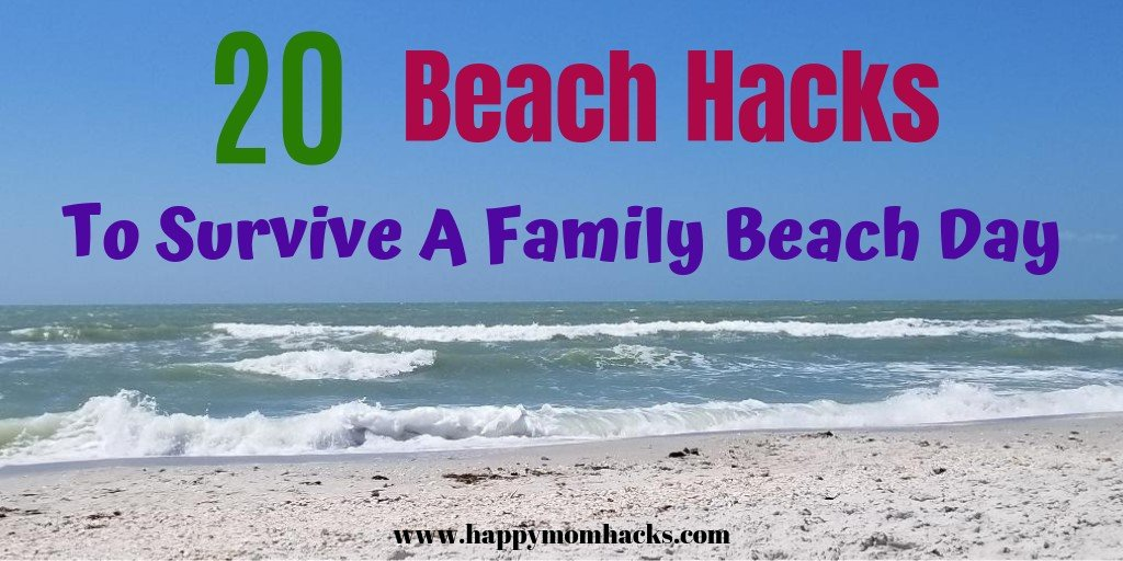 20 Beach Hacks for Beach Vacations with kids. Survive a family beach day with these easy tips and tricks. What to pack for a fun day at the beach. How to keep the sand out, hide your valuables and more. #beachhacks #beachtips #traveltips #beachday #travelwithkids #familyvacation