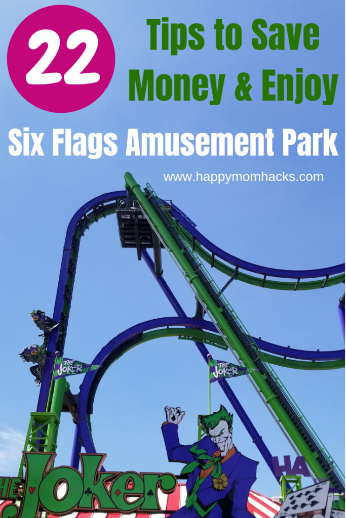 Save Money at Six Flags Great America with these 22 Tips. Be prepared for your visit with these easy travel hacks for families. Including tips to Hurricane Harbor water park and Holiday events. #amusementpark #sixflags #traveltips #familytravel