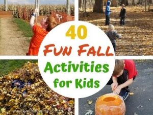 40 Fun Fall Activities for Kids Outdoor & Indoors. Plus easy fall crafts for kids & a free printable bucket list of fun activities to do all fall long. Make great family memories from fall hikes to pumpkin carving, and apple stamping. Get inspired for a great autumn with your kids. #fallactivities #kidsactivities #autumn #fallcrafts #freeprintables