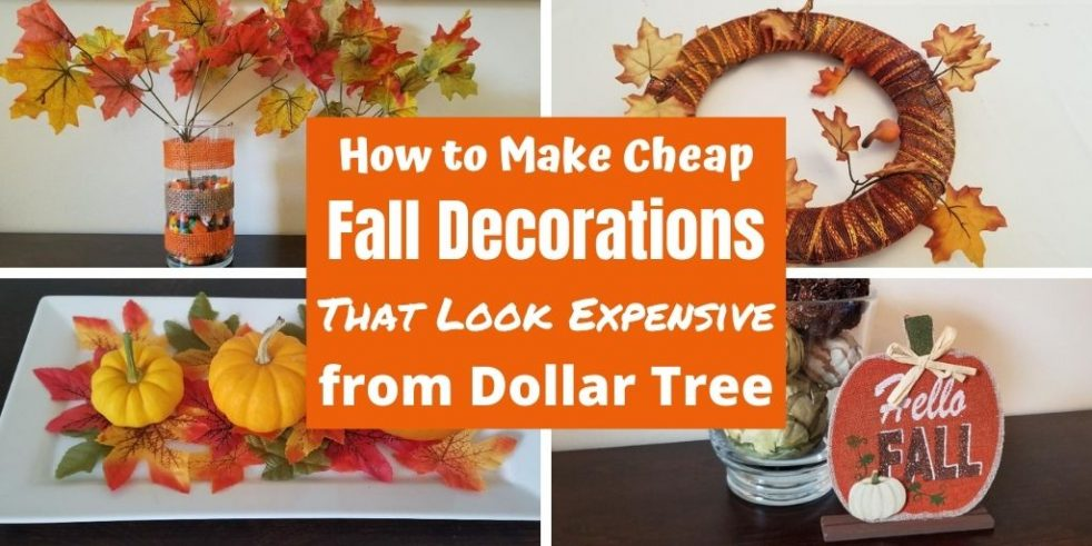 Fun & Cheap Fall Decorations for your home at Dollar Tree. Easy DIY wreaths, yard displays and table centerpieces for Halloween and Thanksgiving. Make your house festive with these fun Fall Decorations. #falldecor #falldecorations #homedecor #halloween #thanksgiving