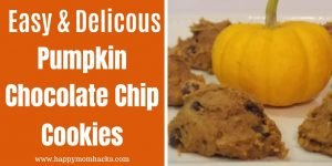 Easiest Pumpkin Chocolate Chip Cookies with only 3 Ingredients. These soft and chewy cookies are made with cake mix and could not be easier. Perfect for Thanksgiving and Halloween parties. #pumpkin #pumpkincookies #fall #3indredients #cookies #thanksgiving #halloween #cakemix