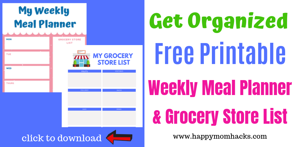 Free Printable Weekly Meal Planner and Grocery List. Make your week less hectic with this simple organization tip. Click to download for free. #freeprintable #mealplanner