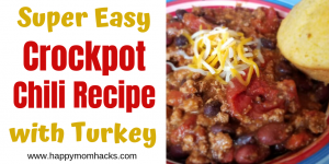 Easiest Crockpot Chili Recipe with Turkey. This slow cooker recipe is simple to make and is the best I've ever tasted. Ultimate comfort food for busy weeknight meals or lazy weekends. Just throw it all in the crockpot and let it cook until your ready to eat. #crockpot #slowcooker #chili #chilirecipe #comfortfood #easymeals