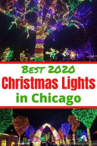 Celebrate Christmas in Chicago with the best holiday Light displays. Visit mueums, zoos, and cool drive thru light shows. Find out how to celebrate christmas and still stay socially distanced this year. #christmas #holidaylights #Chicago #christmaslights #holidayevents