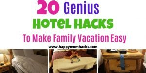 Unique Hotel Hacks for Families on Family Vacation. Every parent needs these hotel tips and tricks to make your hotel stay & family vacation easy and stress free. Use these cheap DIY hotel hacks on your next vacation with kids. #familyvacation #travelwithkids #hotelhacks #travelhacks