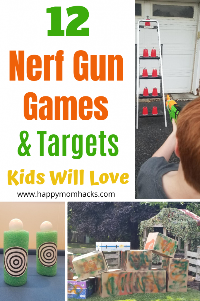 DIY Nerf Gun Targets & Games for Kids. Unique game ideas you can use for birthday parties or just a fun afternoon.  #nerfgun #nerf #nerftargets #nerfbirthday #nerfgames #birthday