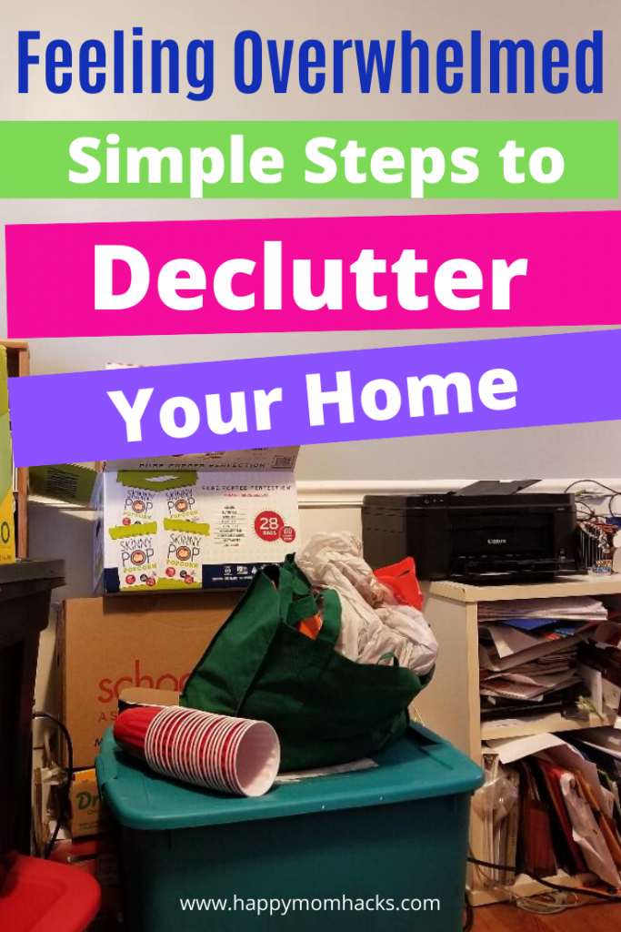 Feeling Overwhelmed? Simple steps to Declutter your home room by room. Organizing tips, cool storage solutions and a free printable Decluttering Checklist. Take back your sanity with these easy steps to getting your house back in order. It's easier than you think! #organization #decluttering #declutteryourhome #organizationtips #overwhelmed