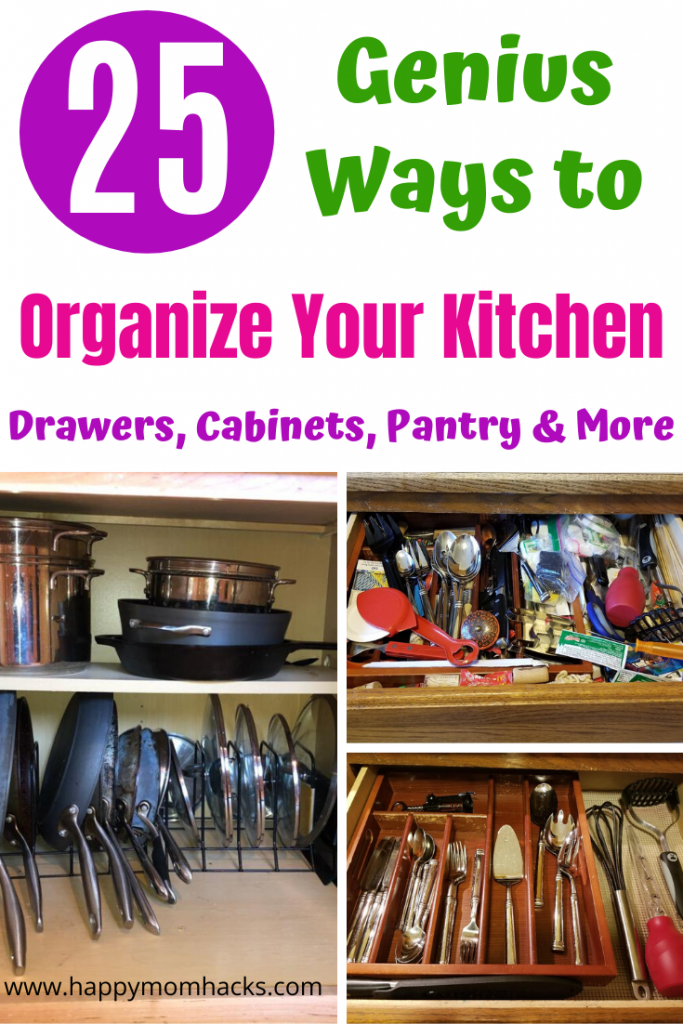 25 Kitchen Organization Ideas for your cabinets, pantry, drawers, pots and pans and more. Easy organization hacks that will simplify your life. #organization #kitchenorganization #organizationhacks #kitchen
