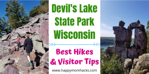 Best Hikes at Devil's Lake State Park in Wisconsin. Complete Guide for your visit from fun hikes, camping, swimming at the beach, nature center and more. Plus fees, where to park, directions and more. #devilslake #wisconsinstateparks #devilslakehikes