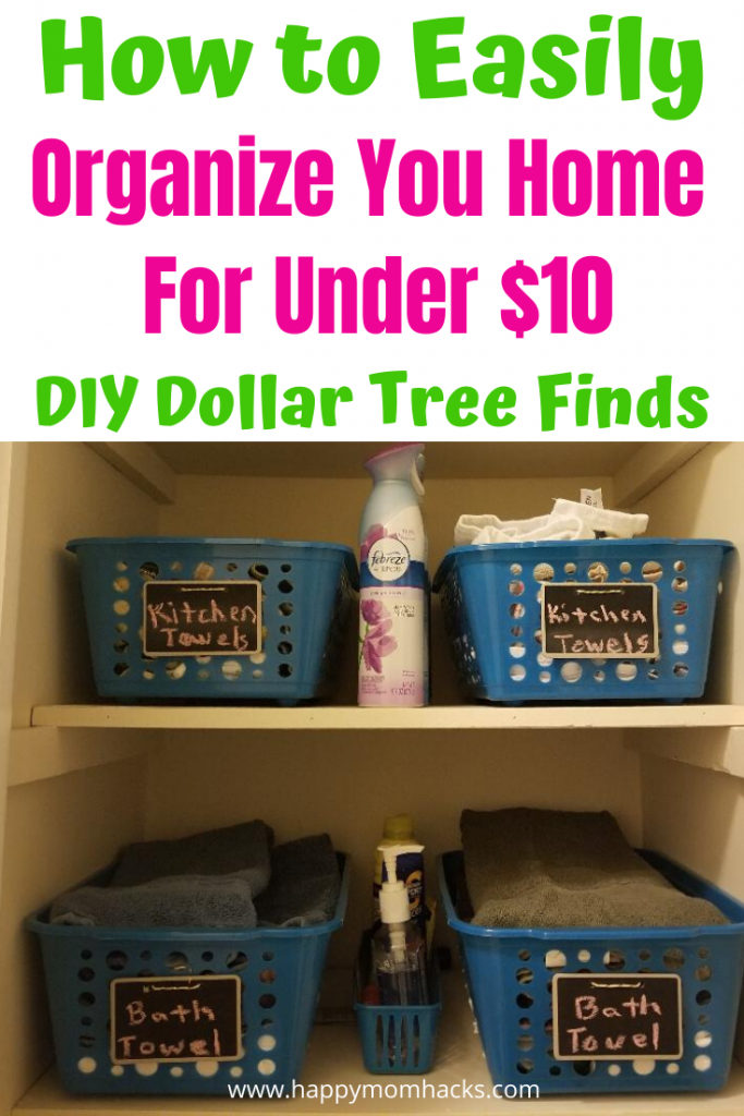 Clever Ideas to Organize Your Home on a budget with Dollar Tree, You'll be amazed at all the DIY Organization Hacks for the Kitchen, Bathrooms, closets you can get for $1. It's easier & cheaper than you think to declutter and get organized. Find out how! #organization #homeorganization #dollartree #dollarstore #onabudget #organizationideas