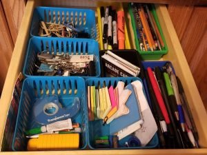 How to Get Your Junk Drawer Organized. Where to start and how to use a dollar tree storage to get organized.