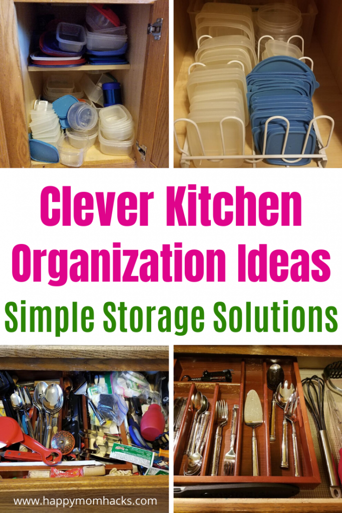 25 Cool Kitchen Organization Ideas. Clever Storage & Space Saving Ideas for Cabinets, Drawers, Pantry, Pots & Pans and more. Get your kitchen decluttered and organized today. It's easier than you think! #organization #kitchenorganization #storage #kitchen #declutter #storagesolutions