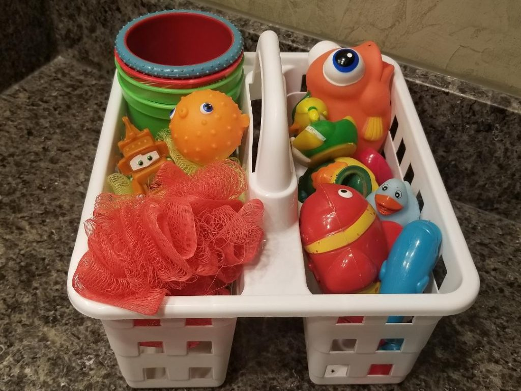 Caddy holding bathroom toys to organize the bathroom
