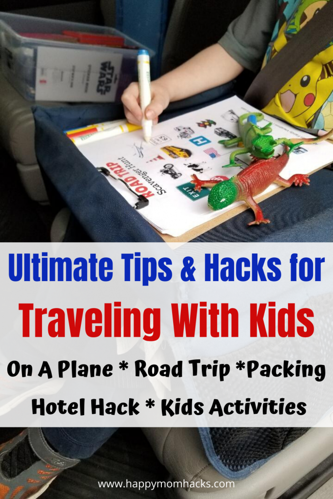 Top Tips & Hacks for Traveling with Kids. How to survive in a car or on a plane for family vacation. Get hacks for Road trips, hotel hacks, beach hacks, packing & travel checklists to make it a stress free trip with kids. Enjoy your upcoming vacation. #travelingwithkids #travelhacks #Traveltips #roadtrip
