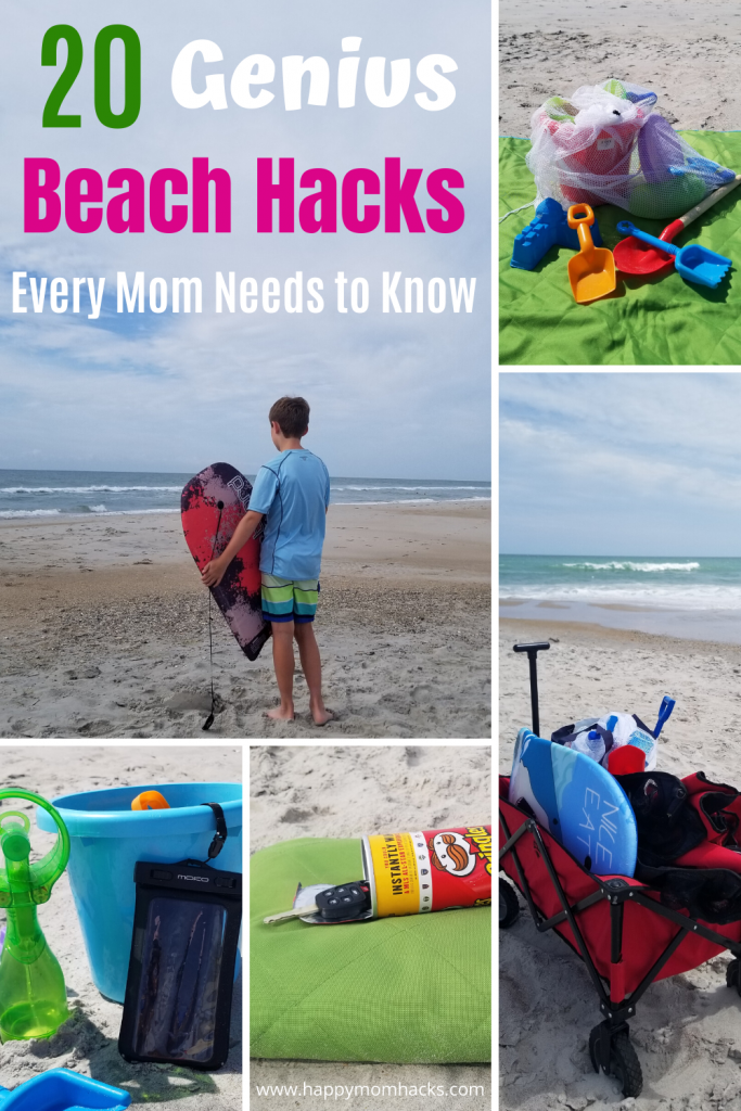Best Beach Hacks for Kids. Easy Tips & Trick for your beach vacation. Families will love these simple beach hacks to make it a stress free day out at the beach. Check it out and be ready for a fun family vacation! #beachhacks #beach #familyvacation #travelwithkids #tipsandtricks #beachday